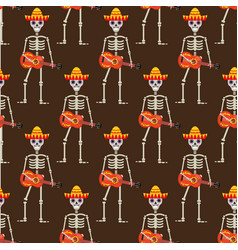 skeleton in sambrero guitar seamless pattern vector image