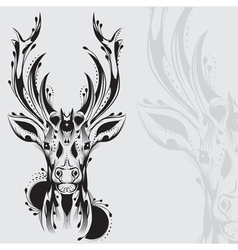 Tribal deer head tattoo vector image vector image