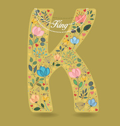 yellow letter k with floral decor and necklace vector image