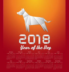 2018 year of the dog calendar vector image vector image