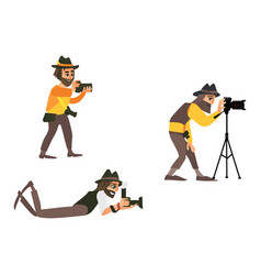 cartoon photographers making photo set vector image
