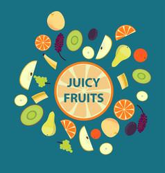 colorful organic fresh fruits set vector image vector image