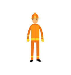 flat fireman character in uniform and protective vector image