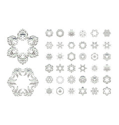 set of arabic mandala on white backgroun vector image