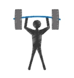 silhuette man lifting barbell vector image