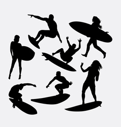 Surfer male and female silhouette vector image vector image