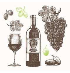 Wine Set Hand Draw Sketch vector image vector image