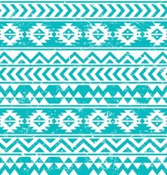 Aztec tribal seamless grunge white pattern on blue vector image