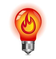 Energy concept fire inside the light bulb vector image