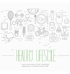 Healthy lifestyle symbols set vector image