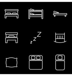 line bed icon set vector image vector image