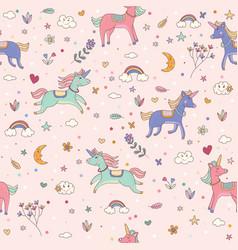 seamless unicorn pink pattern children wallpaper vector image vector image