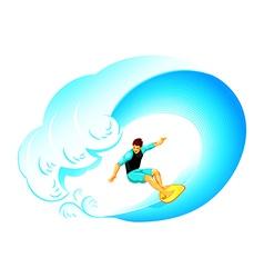 Surfer on big wave vector image vector image