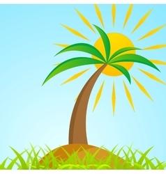 Tropical palm tree on island with shiny sun vector image