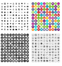 100 mountaineering icons set variant vector