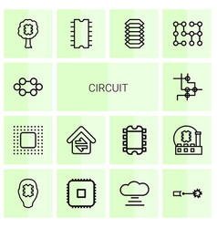 14 circuit icons vector image