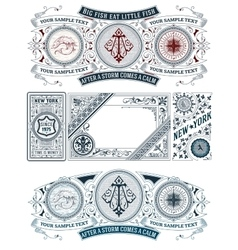 5 Old Cards Set vector