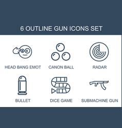 6 gun icons vector
