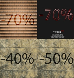 70 40 50 icon set percent discount on abstract vector
