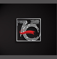 70 years anniversary logotype with square silver vector