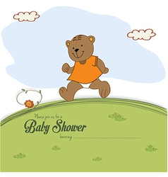 baby shower card with teddy bear chasing rushed to vector image
