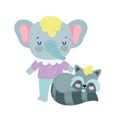 bashower cute elephant and raccoon cartoon vector image