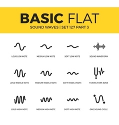 Basic set of sound waves icons vector image
