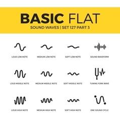 basic set sound waves icons vector image