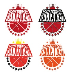 Basketball Badges with Stars and Crowns vector image