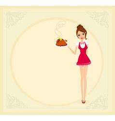 Beautiful waitress serving a chicken vector