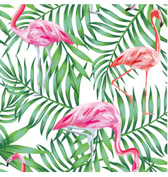 bird flamingo on a background tropical leaves vector image