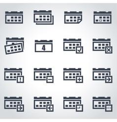 black calendar icon set vector image