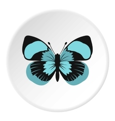 Blue striped butterfly icon flat style vector image