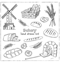 bread hand drawn set vector image