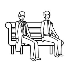 businessmen sitting in park chair avatar character vector image