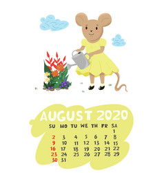 Calendar for august 2020 with a mouse watering vector