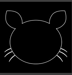 cat head the white path icon vector image