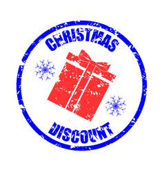christmas discount rubber stamp print gift box vector image