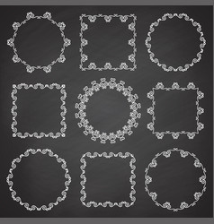 collection ornamental frames hand drawn circle vector image