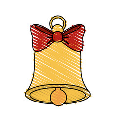 color crayon stripe image bell with red bow ribbon vector image