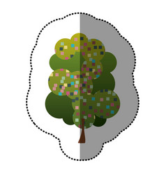 color sticker beautiful tree icon vector image