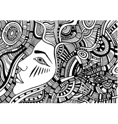 Coloring page with psychedelic fantasy face girl vector