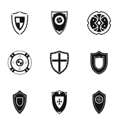 Combat shield icons set simple style vector