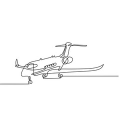continuous one line drawing aircraft in modern vector image