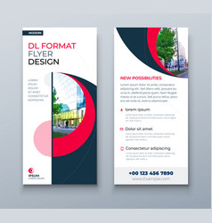 dl flyer design red business template vector image