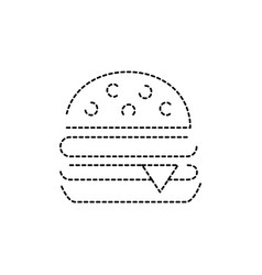 Dotted shape hamburger fast food snack vector