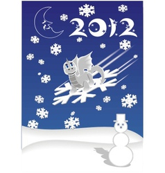 Dragon on snowflake vector