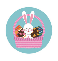 Easter bunny in basket egg decoration vector