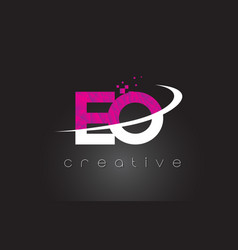 eo e o creative letters design with white pink vector image