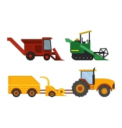 Equipment farm for agriculture machinery harvester vector